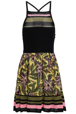 REDValentino Pointelle knit-paneled printed cotton mini dress