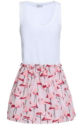 REDValentino Printed faille-paneled cotton-jersey mini dress