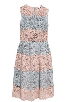 REDValentino Two-tone cotton macramé lace mini dress