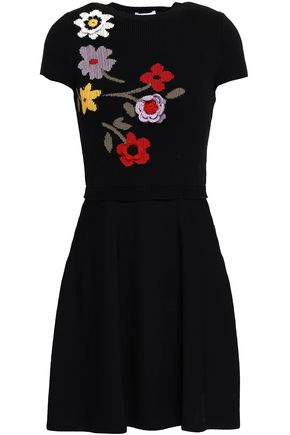 REDValentino Floral-appliquéd intarsia wool mini dress