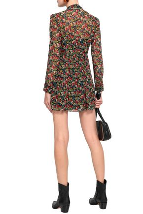 REDValentino Pussy-bow floral-print silk-georgette mini dress