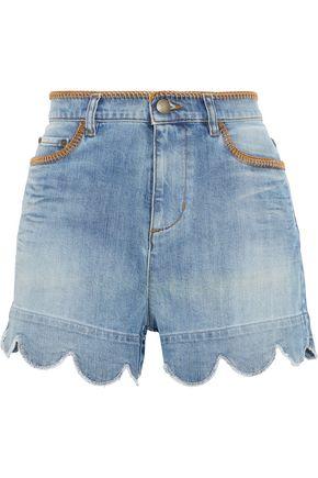 REDValentino Scalloped whipstitched distressed denim shorts