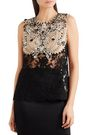 REEM ACRA Crystal-embellished corded lace and tulle top