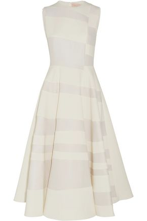 ROKSANDA Tatum paneled cady and hammered-crepe midi dress