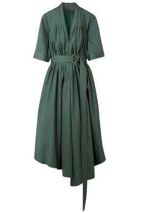ADAM LIPPES Asymmetric pleated cotton-poplin midi dress