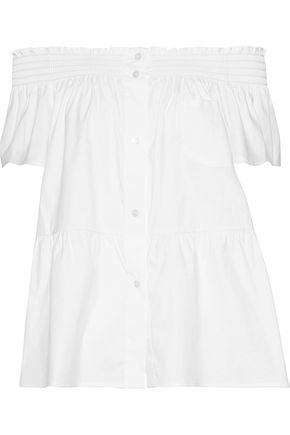 REDValentino Off-the-shoulder cotton-blend poplin top