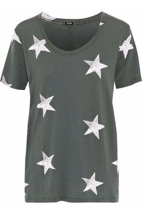 MONROW Printed cotton-blend jersey T-shirt