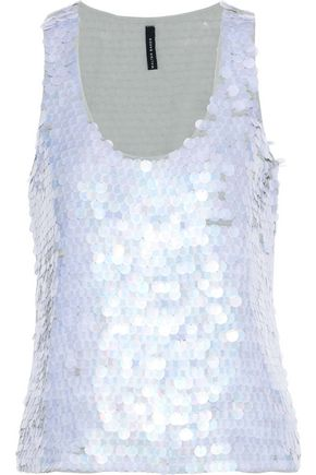 W118 by WALTER BAKER Venus sequined crepe de chine tank