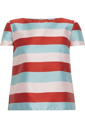REDValentino Striped satin-twill T-shirt