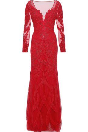 ZUHAIR MURAD Appliquéd silk-blend tulle gown
