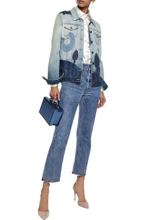 REDValentino Appliquéd sequin-embellished faded denim jacket