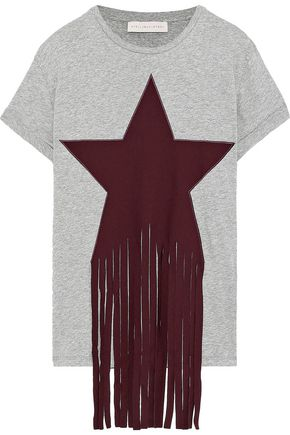 STELLA McCARTNEY Fringed appliquéd mélange cotton-jersey T-shirt