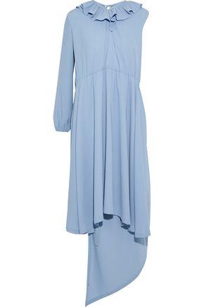 VETEMENTS Asymmetric ruffled stretch-satin dress