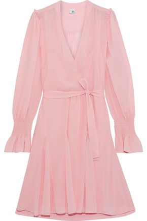 IRIS & INK Gabriella wrap-effect belted chiffon mini dress