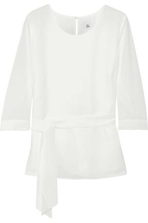 IRIS & INK Delilah belted crepe blouse