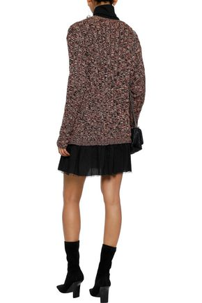 REDValentino Point d'esprit-paneled marled cotton mini dress
