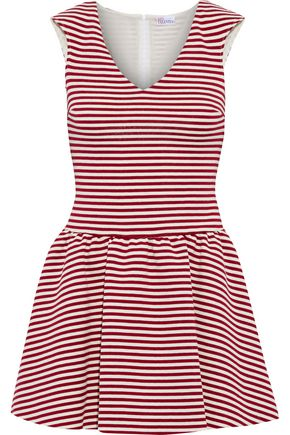 REDValentino Flared striped cotton-blend mini dress