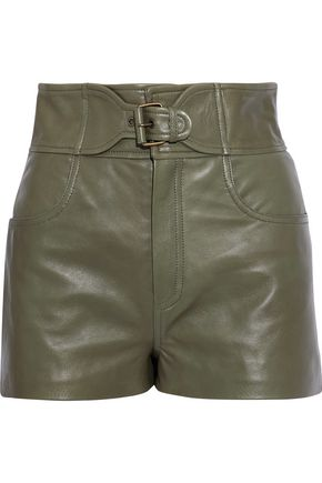 REDValentino Buckled leather shorts
