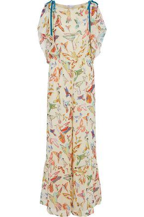 REDValentino Velvet-trimmed printed silk-georgette jumpsuit