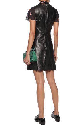 REDValentino Lace-up scalloped leather mini dress