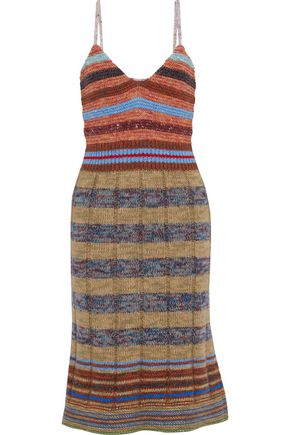 REDValentino Striped ribbed wool-blend slip dress
