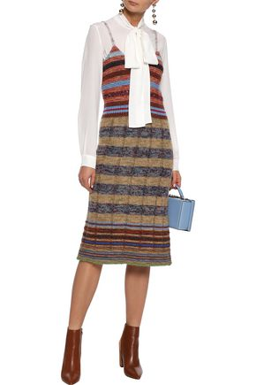 REDValentino Striped ribbed wool-blend slip dress