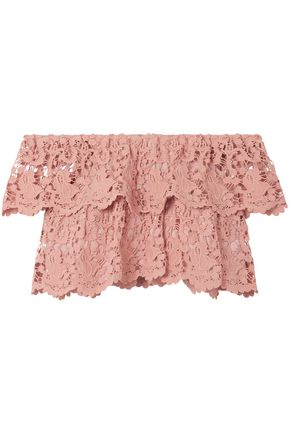 MIGUELINA Angelica cropped off-the-shoulder cotton guipure lace top