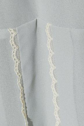 REDValentino Lace-trimmed pleated chiffon dress