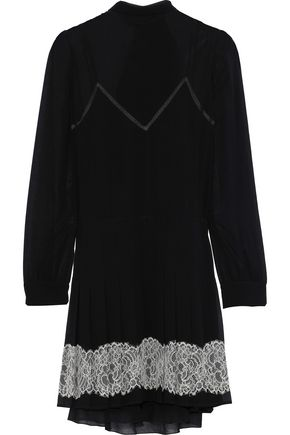 REDValentino Tie-back lace-trimmed georgette mini dress