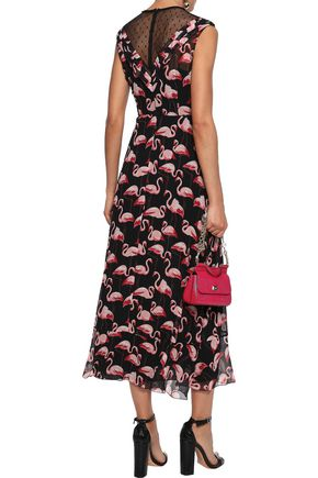 REDValentino Point d'esprit-paneled printed georgette midi dress