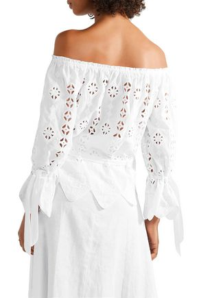 MIGUELINA Aurelia off-the-shoulder scalloped broderie anglaise cotton top