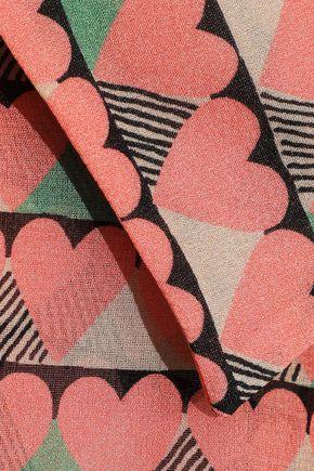 REDValentino Pussy-bow printed silk-blend chiffon mini dress