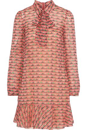 REDValentino Pussy-bow printed silk-blend chiffon mini dress