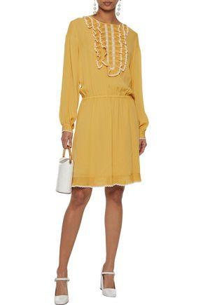 REDValentino Lace-trimmed ruffled silk crepe de chine dress