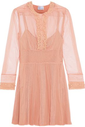 REDValentino Lace-trimmed pintucked tulle mini dress