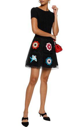 REDValentino Appliquéd point d'esprit and cable-knit mini dress