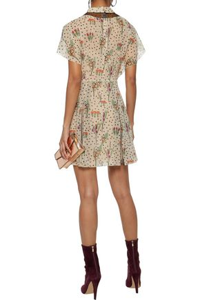 REDValentino Pussy-bow floral-print silk-blend georgette mini dress