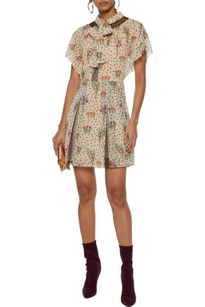 7bc9dea74162eb REDValentino Pussy-bow floral-print silk-blend georgette mini dress