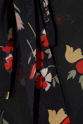 REDValentino Pussy-bow point d'esprit-paneled floral-print silk-blend chiffon midi dress