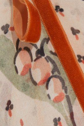 REDValentino Velvet-trimmed printed georgette dress