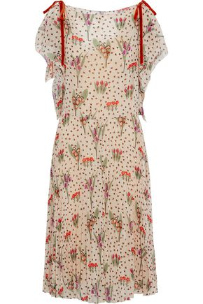 REDValentino Velvet-trimmed printed georgette dress