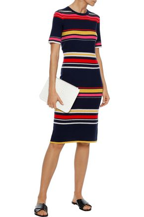 IRIS & INK Poppy striped ribbed wool-blend dress