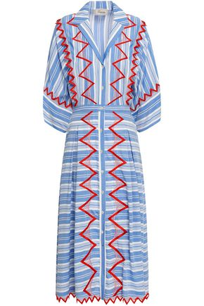 TEMPERLEY LONDON Embroidered striped poplin midi dress