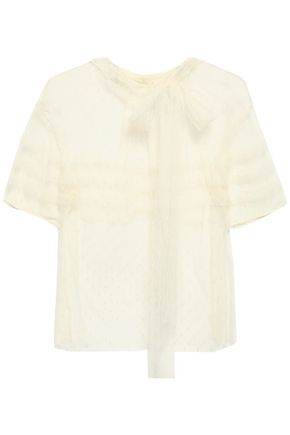 REDValentino Pussy-bow point d'esprit blouse