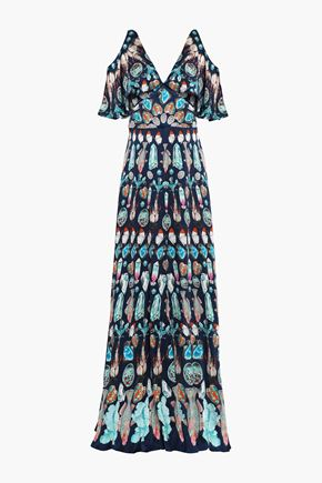 TEMPERLEY LONDON Cold-shoulder printed silk-satin maxi dress