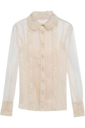 REDValentino Guipure lace-trimmed point d'esprit blouse