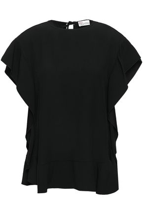 REDValentino Ruffled satin-crepe top