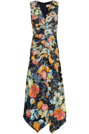 PETER PILOTTO Ruched printed satin midi dress