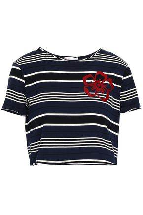 REDValentino Cropped striped cotton-jersey T-shirt