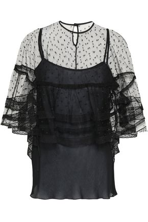 REDValentino Lace-trimmed point d'esprit top